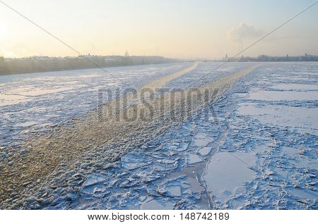 The ship struck the ice and left a trail.