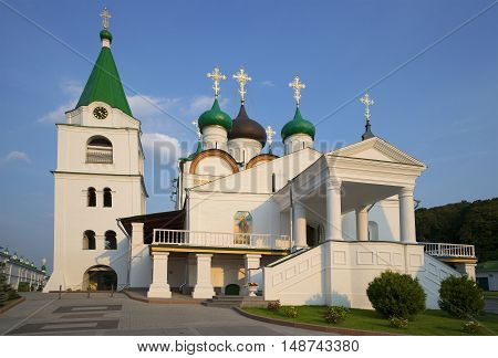 Vintage Cathedral of the ascension Pechersky monastery on a summer evening. Nizhny Novgorod, Russia