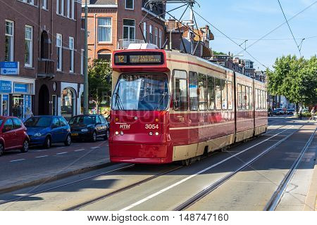 The Hague the Netherlands - September 24 2016: tram on a Hague street