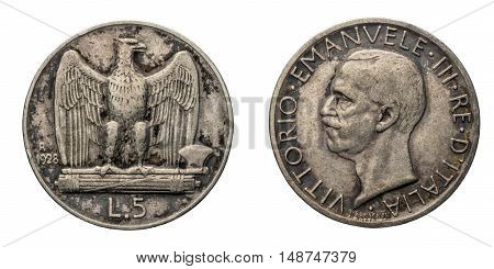 five 5 Lire silver Coin 1928, fascism age, fascist eagle arms on back and Vittorio Emanuele III Kingdom of Italy on front, Mint of rome, black patina