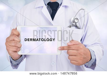 Tablet With The Medical Specialty Dermatology On The Display