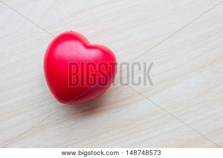 Valentines Day background with hearts / Valentines day red heart on wood background