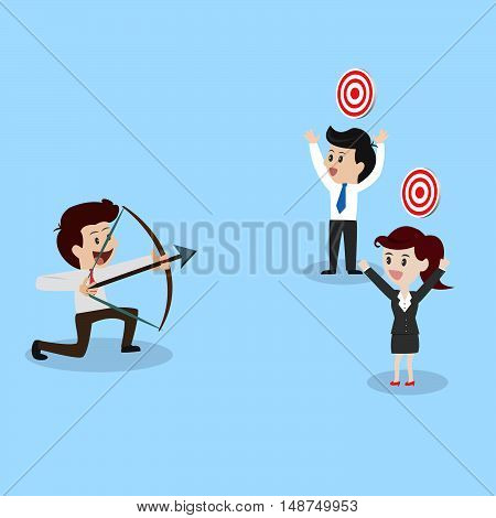 businessman shooting arrow to business goal.illustration business cocept.