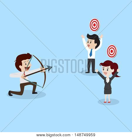 businessman shooting arrow to business goal.Vector illustration business cocept.