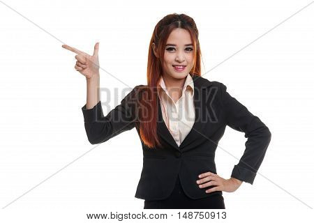 Young Asian Business Woman Smile And Point.