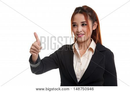 .Asian business girl thumbs up isolated on white background