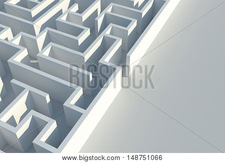 Maze Difficulties Concept. Labyrinth Entrance. 3D Render Illustration.