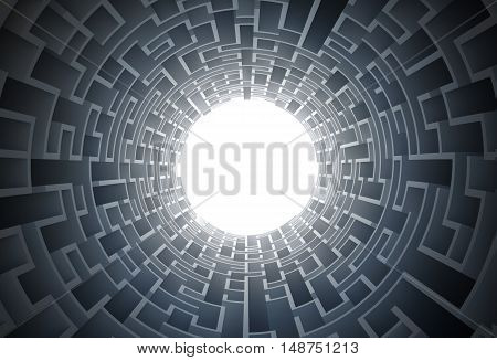 Maze Tunnel 3D Concept Illustration. Labyrinth Tunnel Conceptual Design.