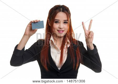 Young Asian Business Woman Show Victory With A Blank Card.