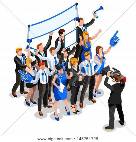 Speaker delegate journalism communication. 3D Vector isometric people