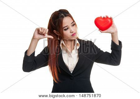 Asian Business Woman Thumbs Down With Red Heart.
