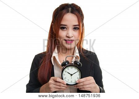 Young Asian Business Woman Smile With A Clock.