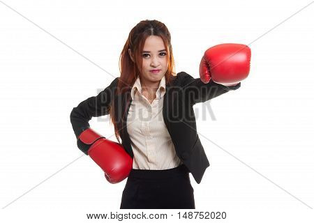 Young Asian Business Woman With Red Boxing Gloves.