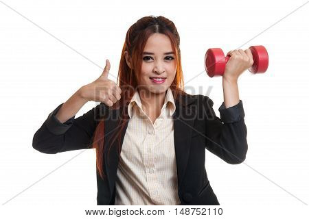 Healthy Asian Business Woman Thumbs Up With Dumbbells.