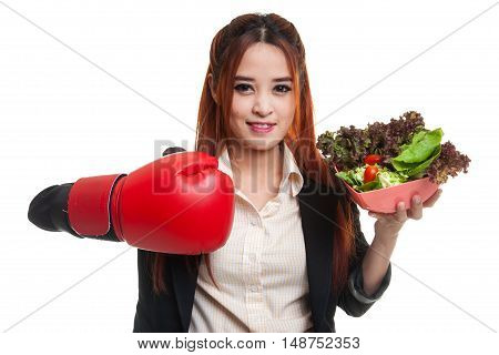 Young Asian Business Woman With Boxing Glove And Salad.