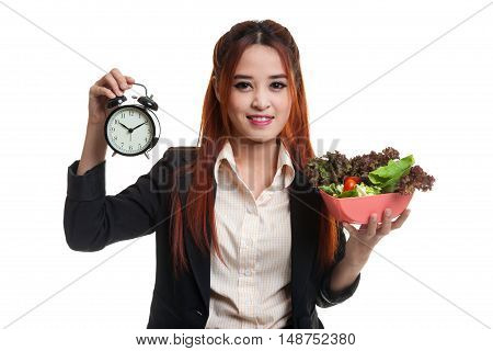 Young Asian Business Woman With Clock And Salad.