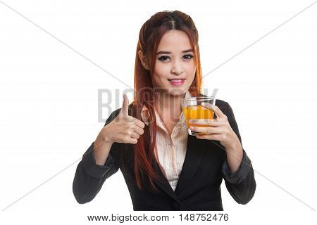 Young Asian Woman Thumbs Up Drink Orange Juice.