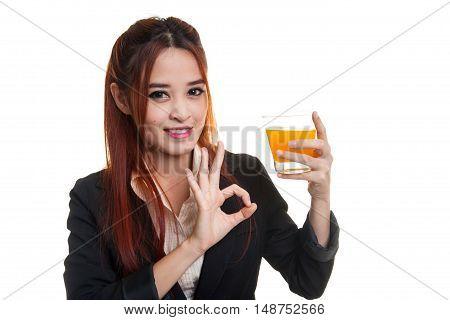 Young Asian Woman Show Ok Drink Orange Juice.