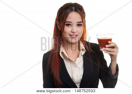 Young Asian Business Woman Drink Tomato Juice.