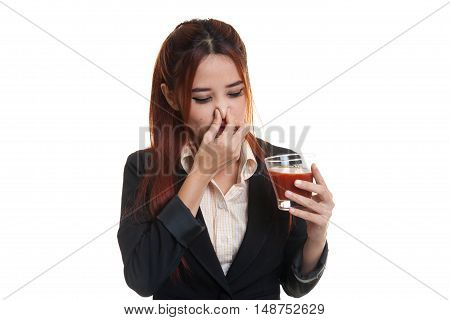 Young Asian Business Woman Hate Tomato Juice.