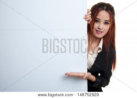 Young Asian Woman Present Blank Sign With Palm Hand.