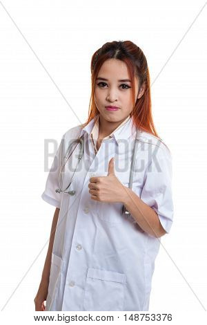 Asian Young Female Doctor Show Thumbs Up.