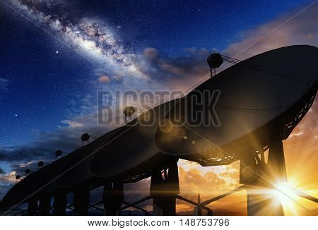 Radio Telescopes Sunset and the Milky Way Concept 3D Illustration. Space Science Conceptual Image.