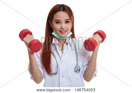 Young Asian Female Doctor With Dumbbells In Both Hands.