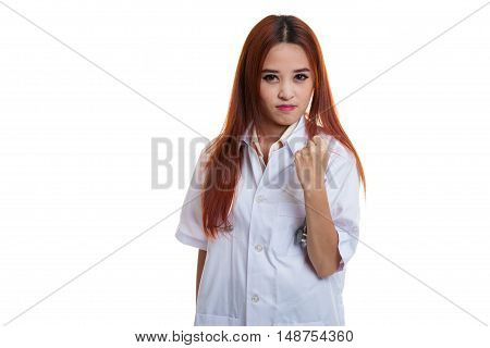 Portrait Of Confidence Young Female Doctor Hold Fist.