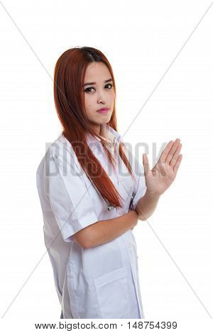 Asian Young Female Doctor Say Talk To My Hand.