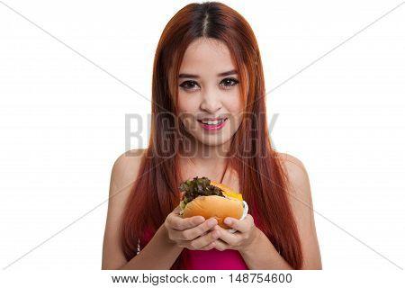 Beautiful Asian Healthy Girl Enjoy Eating  Hamburger.
