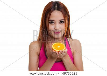 Beautiful Asian Healthy Girl With Orange Fruit.