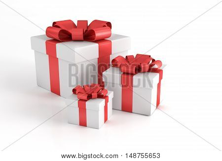 Three Gift Boxes with Red Bows Isolated on White. 3D Render Illustration.