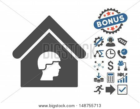 Barrack Building icon with bonus design elements. Glyph illustration style is flat iconic bicolor symbols, cobalt and gray colors, white background.
