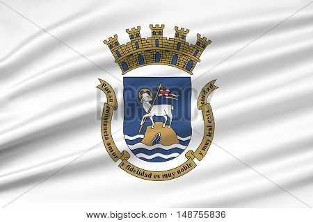 Flag of San Juan is the capital and most populous municipality in the Commonwealth of Puerto Rico United States. 3D illustration