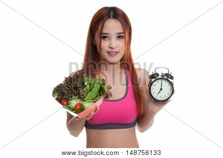 Beautiful Asian Healthy Girl With Clock And Salad.