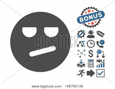 Bored pictograph with bonus pictures. Glyph illustration style is flat iconic bicolor symbols, cobalt and gray colors, white background.