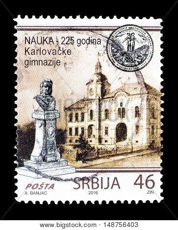 SERBIA - CIRCA 2016 : Cancelled postage stamp printed by Serbia, that shows Gymnasium in Sremski Karlovci.