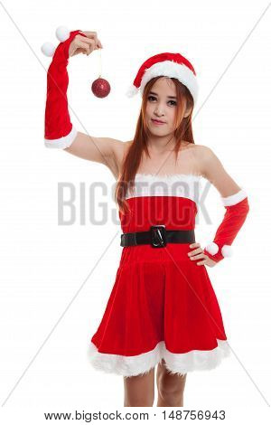 Asian Christmas Santa Claus Girl   With Bauble Ball.