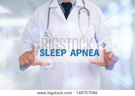 SLEEP APNEA Medicine doctor hand working doctor work hard