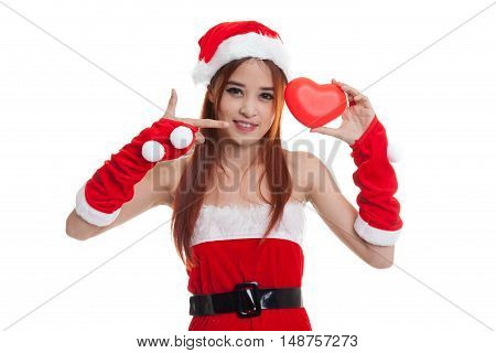 Asian Christmas Santa Claus Girl  Point To Red Heart.