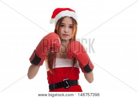 Asian Christmas Santa Claus Girl  With Boxing Glove.