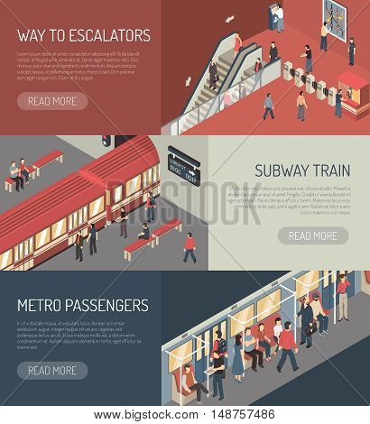 Underground railway subway system webpage 3 isometric banners design with metro passengers on escalator isolated vector illustration