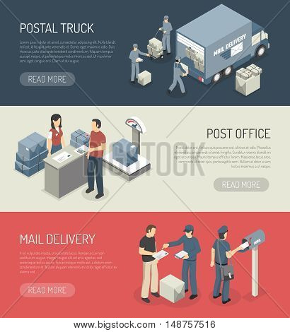 Post office mail orders delivery online service 3 isometric horizontal banners webpage design abstract isolated vector illustration