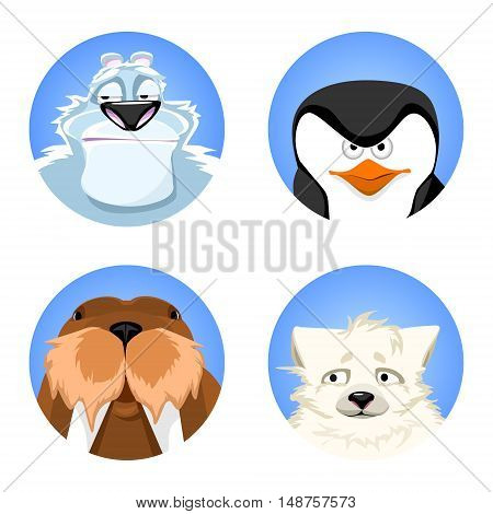 a set of avatars northern animals. polar bear, penguin, polar fox, walrus. cute animals on a blue background. vector illustrations.