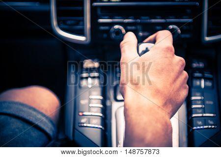Automatic Transmission Car Drive Closeup Photo. Modern Vehicle.