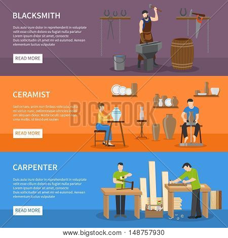 Horizontal colorful craftsman flat isolated banners with people having professions of blacksmith carpenter and ceramist vector illustration