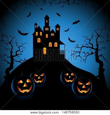 Halloween blue night with haunted castle and grinning pumpkins vector eps 10