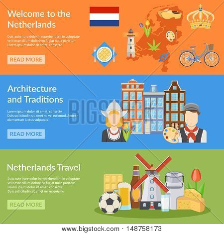 Horizontal colorful netherlands travel flat banners with map dutch national symbols costumes cuisine and architecture isolated vector illustration