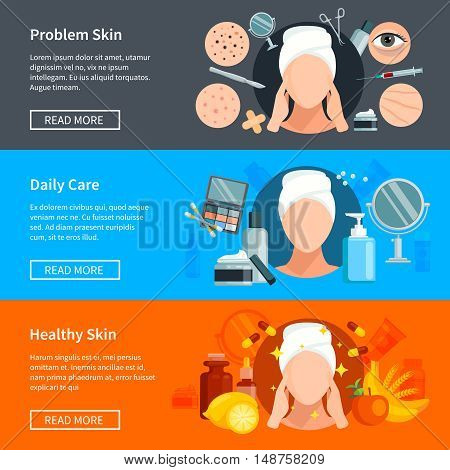 Skin care flat horizontal banners with problem skin treatments daily cosmetics and healthy skin design elements vector illustration
